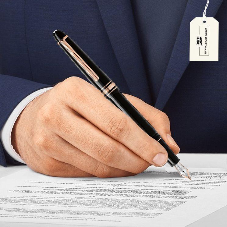 Đánh giá bút ký Montblanc Meisterstuck đen cài vàng hồng 112676 như một tác phẩm tuyệt mỹ